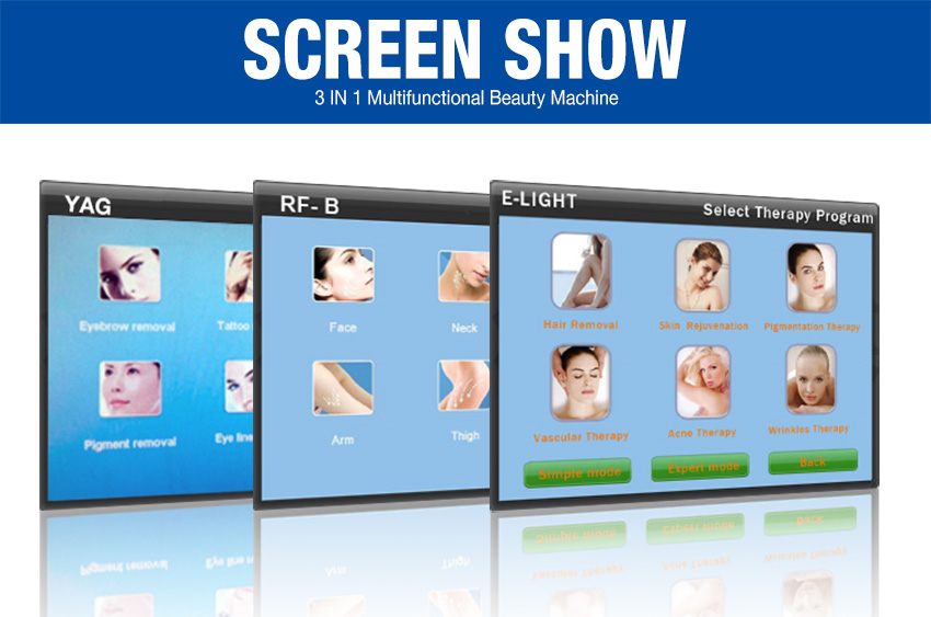 elight hair removal machine screen
