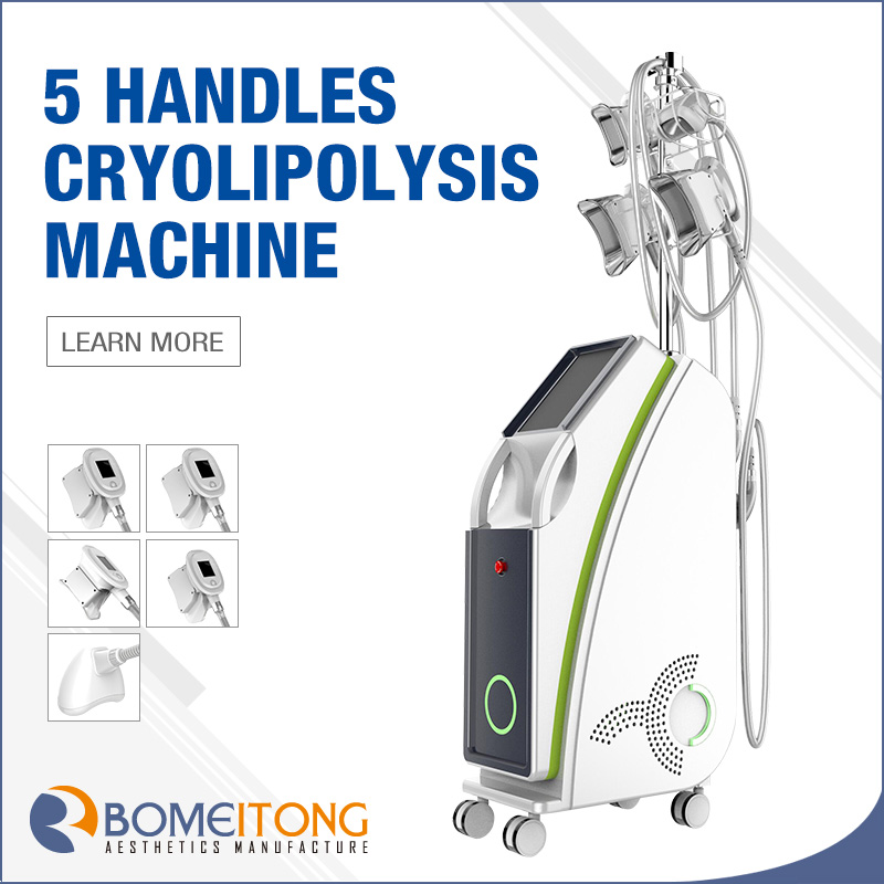 Double chin fat removal cost cryolipolysis machine 5 working handles